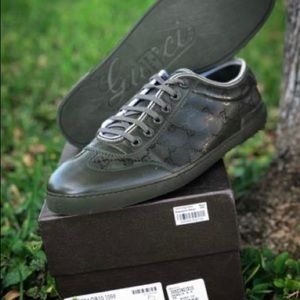 GUCCI LOW TOP GG SNEAKER OLIVE